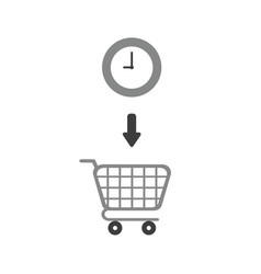 icon concept of clock inside shopping cart vector image