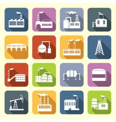 Industrial Building Icons Flat vector image