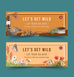 Insect and bird banner design with various vector