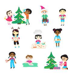 kids on christmas cartoon characters boys vector image