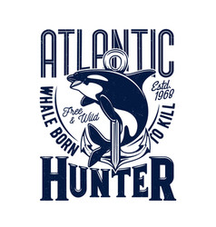 killer whale tshirt print mascot for marine club vector image
