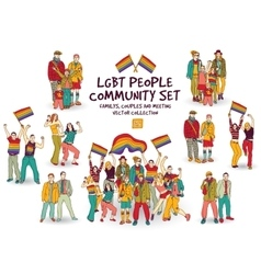 Lgbt people community set isolated group vector