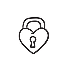 Lock shaped heart sketch icon vector