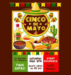 Mexican cinco de mayo party invitation vector