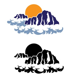 Mountains in clouds vector