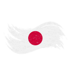 national flag of japan designed using brush vector image