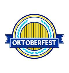 Oktoberfest blue circular badge symbol logo design vector
