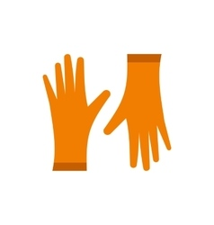 Pair of orange rubber gloves icon flat style vector