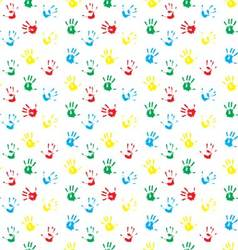 Pattern hand print colored vector