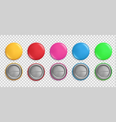 pin buttons round badges circle glossy colorful vector image