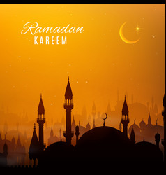 Ramadan kareem holiday arabian city at sunset vector