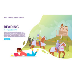 reading books landing page website template vector image