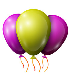 Realistic purple brown balloons with ribbons vector