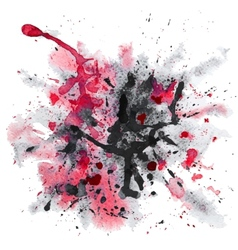 Red and black watercolor splash vector image