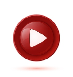 Red glossy play button icon vector