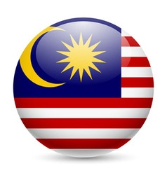 Round glossy icon of malaysia vector image
