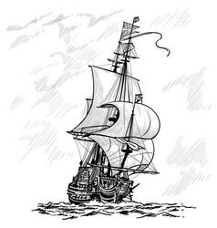 Sailing ship vintage frigate on waves vector