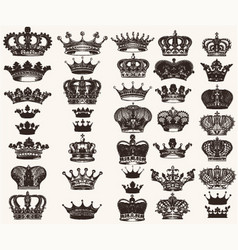 set of high detailed crowns for design vector image