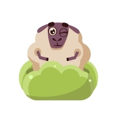 Sheep hiding in the bush vector