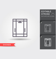 shower cabin line icon with editable stroke with vector image