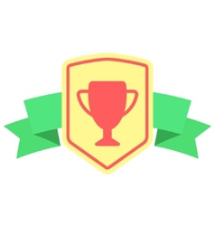Sign with prize cup and ribbon vector