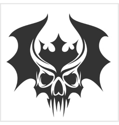Skull with bat wings and a crown vector