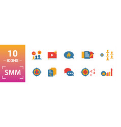 Smm icon set include creative elements content vector