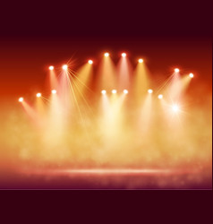 Spotlights on stage with smoke and light vector