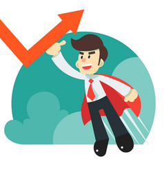 Super hero businessman flying saving the economy vector