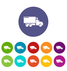 truck icons set color vector image
