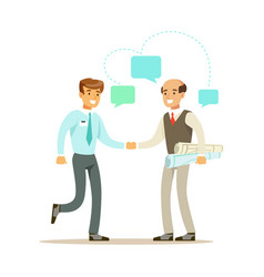 two businessmen discussing at meeting colorful vector image