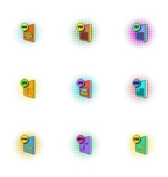Types of files icons set pop-art style vector