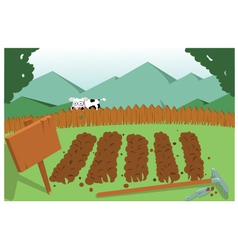 vegetable garden and cow vector image