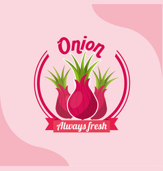 vegetable onion always fresh emblem vector image