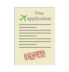 Visa application with denied stamp vector
