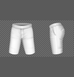 White shorts for men mockup male pants vector