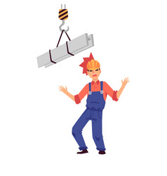 work injury to head man builder and worker in vector image