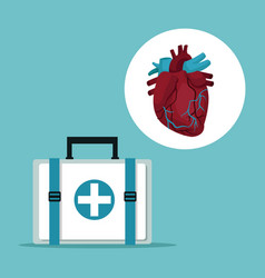 color background with first aid box with icon vector image