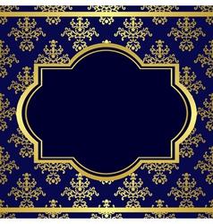 dark blue background with center gold frame vector image vector image