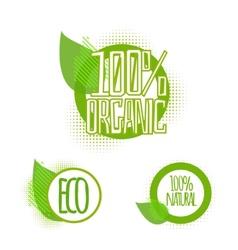 Ecology organic icon set eco-icons vector image vector image