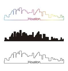 Houston skyline linear style with rainbow vector image vector image