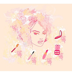Make-up girl - poster vector image vector image