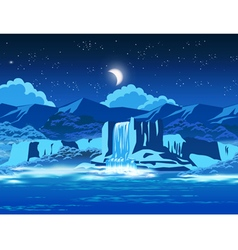 picturesque waterfall at night vector image vector image