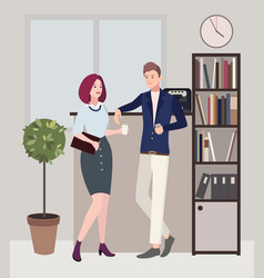 relationships at work coffee break woman and man vector image
