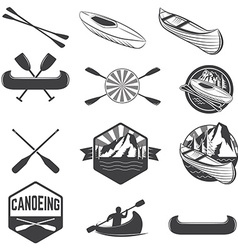 Set of canoeing labels and design elements vector image