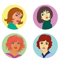 Set of fashion faces vector