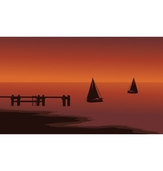 Silhouette of ship in beach vector image