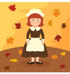 Thanksgiving Girl Cartoon vector image