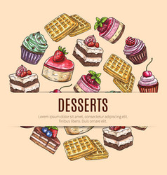cake desserts poster for pastry shop design vector image vector image