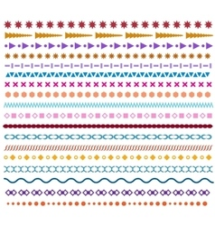 Colored line borders Pattern brushes or vector image vector image